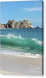 Acrylic Print featuring the photograph Logan Rock Porthcurno Cornwall by Terri Waters