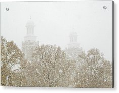 Logan Temple In Snow Acrylic Print by Greg Collins