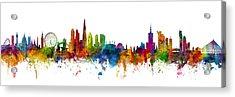 London And Warsaw Skylines Mashup Acrylic Print