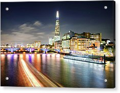 London At Night With Urban Architecture, Amazing Skyscraper And Boat At Thames River, United Kingdom Acrylic Print