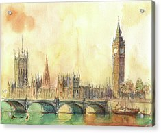 London Big Ben And Thames River Acrylic Print by Juan Bosco