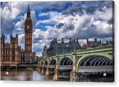Acrylic Print featuring the painting London Big Ben by David Dehner