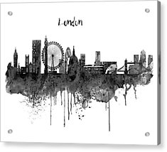 London Black And White Skyline Watercolor Acrylic Print by Marian Voicu