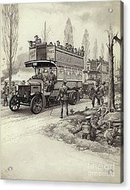 London Buses Used To Take Troops To The Front During Wwi Acrylic Print by Pat Nicolle