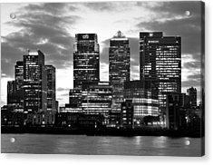 London Canary Wharf Monochrome Acrylic Print by Marek Stepan