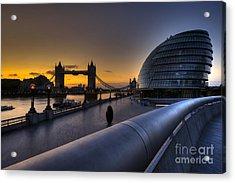 London City Hall Sunrise Acrylic Print by Donald Davis