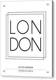 London City Print With Coordinates Acrylic Print