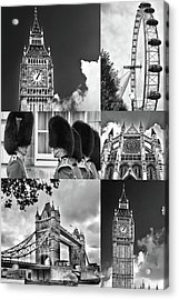 London Collage Bw Acrylic Print