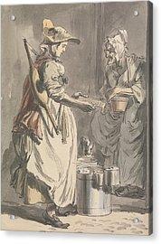 London Cries - A Milkmaid Acrylic Print by Paul Sandby