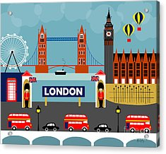 London England Horizontal Scene - Collage Acrylic Print by Karen Young