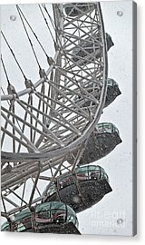 London Eye And Snow Acrylic Print