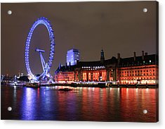 London Eye By Night Acrylic Print by RKAB Works