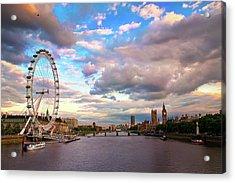 London Eye Evening Acrylic Print by Kapuk Dodds