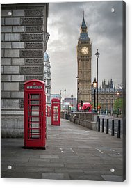 London Phone Booths And Big Ben Acrylic Print