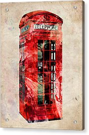 London Phone Box Urban Art Acrylic Print by Michael Tompsett