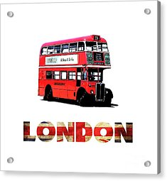 London Red Double Decker Bus Tee Acrylic Print by Edward Fielding