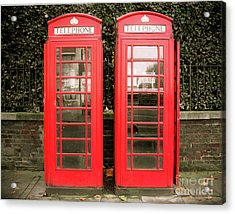 London Red Phone Booths Acrylic Print