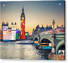 London Skyline Collage 3 Inc Big Ben, Westminster  Acrylic Print