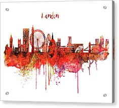 London Skyline Watercolor Acrylic Print