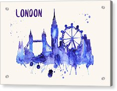 London Skyline Watercolor Poster - Cityscape Painting Artwork Acrylic Print