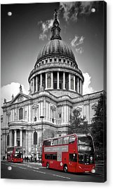 London St. Pauls Cathedral And Red Bus Acrylic Print