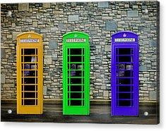 London Telephone Boxes Acrylic Print by Mark Rogan