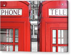 London Telephones Acrylic Print by Richard Newstead