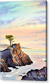 Lone Cypress Tree Pebble Beach Acrylic Print