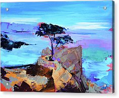 Acrylic Print featuring the painting Lone Cypress by Elise Palmigiani
