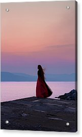 Lone Figure On The Cob, Lyme Regis, Dorset, Uk, At Sunrise. Acrylic Print
