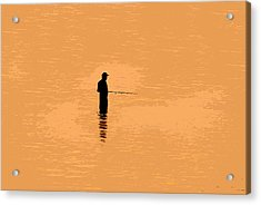 Lone Fisherman Acrylic Print by David Lee Thompson