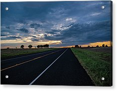 Lone Highway At Sunset Acrylic Print