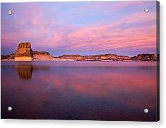 Lone Rock Sunset Acrylic Print by Mike  Dawson