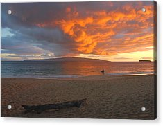 Lone Surfer At Sunset Acrylic Print by Stephen  Vecchiotti