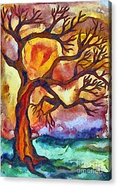 Lone Tree At Sunset Acrylic Print