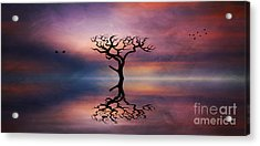 Acrylic Print featuring the digital art Lone Tree Sunrise by Ian Mitchell