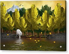 Lone Wolf At The River Acrylic Print