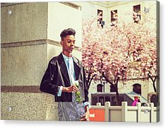 Lonely Boy With White Rose 15042643 Acrylic Print