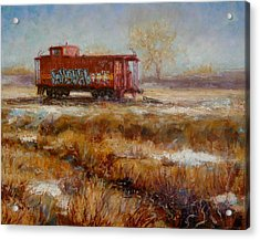 Lonely Caboose Acrylic Print by Donelli  DiMaria