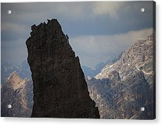 Lonely Climber, Cinque Torri, Dolomites, Italy Acrylic Print by Frank Peters