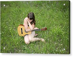 Lonely Guitar Acrylic Print by Lucky Cole