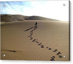 Lonely Hiker In The Gobi Acrylic Print