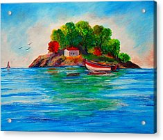 Lonely Island In Greece Acrylic Print by Constantinos Charalampopoulos