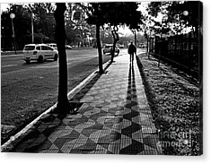 Lonely Man Walking At Dusk In Sao Paulo Acrylic Print
