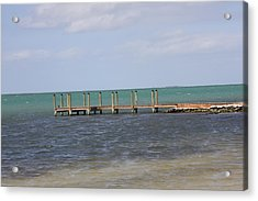 Lonely Pier Acrylic Print by Bonnes Eyes Fine Art Photography