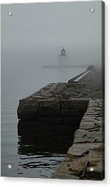 Acrylic Print featuring the photograph Lonely Salem Lighthouse In Fog by Jeff Folger