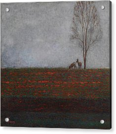 Lonely Tree With Two Roes Acrylic Print
