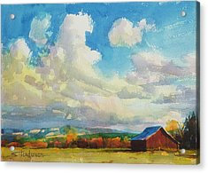 Acrylic Print featuring the painting Lonesome Barn by Steve Henderson