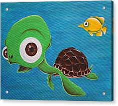 Lonesome Fish And Friendly Turtle Acrylic Print by Landon Clary
