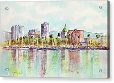 Long Beach Coastline Reflections Acrylic Print